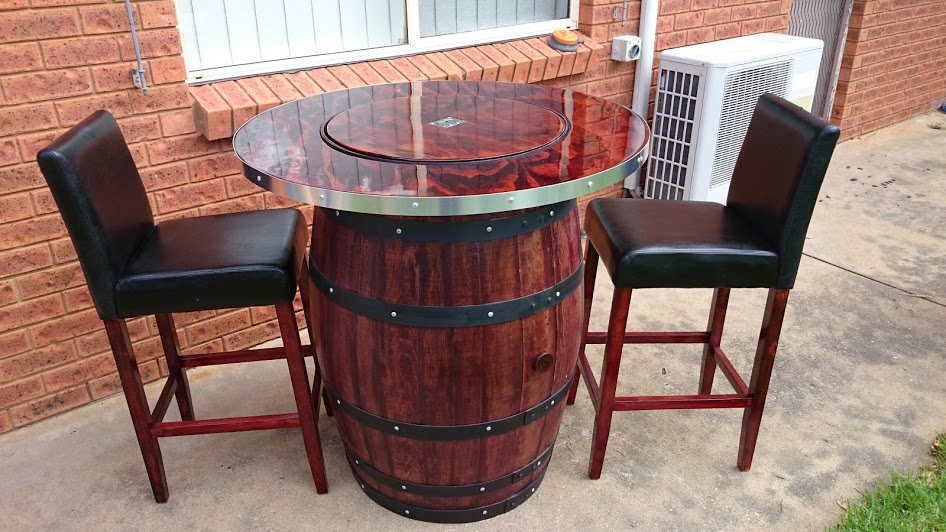 wood barrel furniture. How To Make A Wine Barrel Table With Built In Bucket Wood Furniture