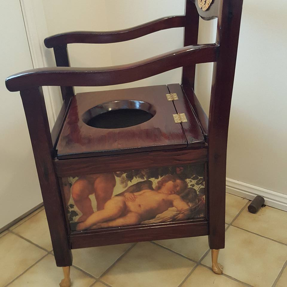 Antique Commode Chair Restored and Repurposed into a Feature Chair - Antique Commode Chair Restored And Repurposed Into A Feature Chair