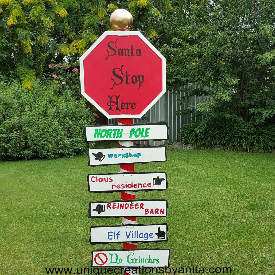 Santa stop here outdoor Christmas sign