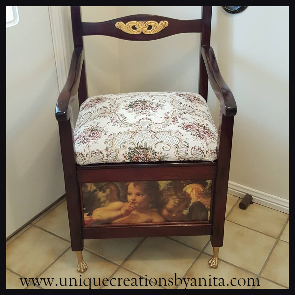 Antique Commode Chair Restored and Repurposed into a Feature Chair - Antique Commode Chair Restored And Repurposed Into A Feature Chair -