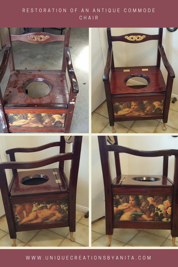 Antique Commode chair restored - Antique Commode Chair Restored And Repurposed Into A Feature Chair -