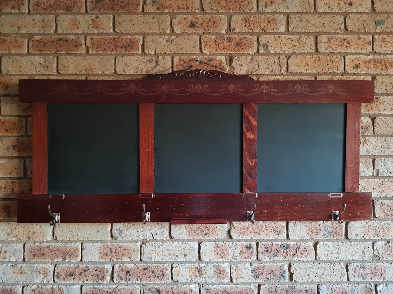 Headboard Repurposed into a Chalkboard Hat/Coat Rack