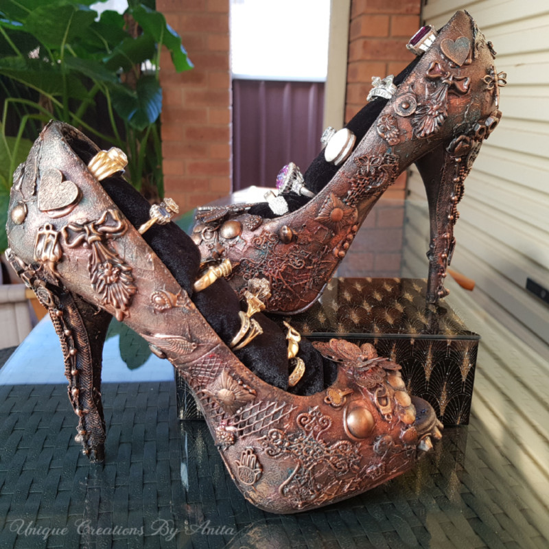 Decorated mixed media shoes